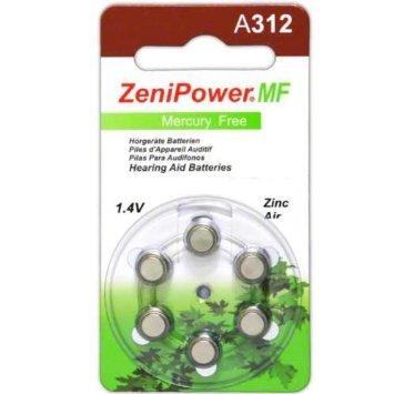 ZeniPower Size 312 Mercury Free Hearing Aid Batteries